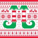 Modèle sans couture de Noël avec la conception répétitive d'elfe et de renne, rouge et verte Photo stock