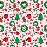 Modèle sans couture de Noël avec le bonhomme de neige Images stock