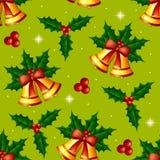 Modèle sans couture de Noël avec le houx et les cloches Images libres de droits