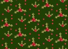 Modèle sans couture de Noël avec le houx Fond sans fin de Noël Vacances répétant la texture, papier peint, tissu Vecteur Photos libres de droits