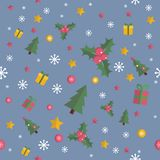 Modèle sans couture de Noël avec les éléments plats Photographie stock