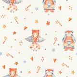 Modèle sans couture de Noël avec les personnages de dessin animé mignons - littl illustration stock