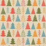 Modèle sans couture de Noël avec les sapins colorés illustration stock
