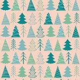 Modèle sans couture de Noël avec les sapins verts Photographie stock libre de droits