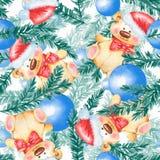Modèle sans couture de Noël avec Teddy Bear Images stock