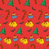 Modèle sans couture de Noël - babiole, canne de sucrerie, Bell, Noël illustration de vecteur
