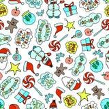 Modèle sans couture de Noël de bande dessinée sur le fond blanc avec les caractères mignons illustration stock