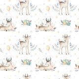 Modèle sans couture de Noël de cerfs communs sans couture de bébé Backgraund tiré par la main d'hiver avec des cerfs communs, flo Illustration Stock