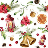 Modèle sans couture de Noël d'aquarelle avec le décor et la lanterne Ornement d'arbre de nouvelle année avec la lanterne, cloche, Photographie stock