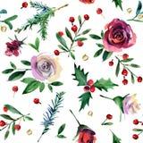 Modèle sans couture de Noël d'aquarelle fleur de rosa, houx, branche de pin, illustration d'aquarelle de baies illustration de vecteur
