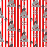 Modèle sans couture de Noël d'hiver sur un fond rouge avec les rayures blanches photos stock