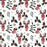 Modèle sans couture de Noël dans le vecteur avec des signes et des éléments de vacances illustration stock