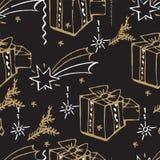 Modèle sans couture de Noël de vecteur Fond tiré par la main Image stock