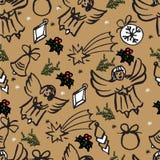 Modèle sans couture de Noël de vecteur Fond tiré par la main Photographie stock libre de droits