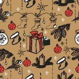 Modèle sans couture de Noël de vecteur Fond tiré par la main Photos stock