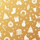 Modèle sans couture de Noël et de nouvelle année avec des vacances traditionnelles Photographie stock libre de droits