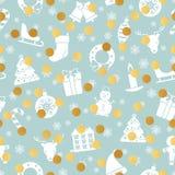Modèle sans couture de Noël et de nouvelle année avec des vacances traditionnelles Image stock