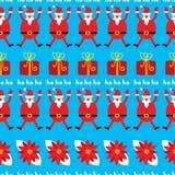 Modèle sans couture de Noël mignon Fond de vacances avec le poinset Photographie stock