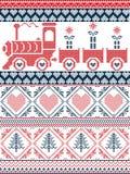 Modèle sans couture de Noël norvégien et d'hiver de fête dans le point croisé avec des cadeaux, bonne planque, Image stock