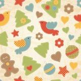Modèle sans couture de Noël puéril avec des arbres de Noël, oiseaux, bonhommes en pain d'épice illustration libre de droits