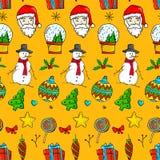 Modèle sans couture de Noël - Santa Claus, homme de neige, globe de neige, illustration de vecteur