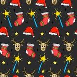 Modèle sans couture de Noël - Santa Hat, baguette magique magique, étoile, cerf commun o illustration libre de droits