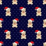 Modèle sans couture de Noël Teddy Bear sur le fond bleu-foncé Image stock