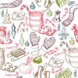 Modèle sans couture de Noël, texture, illustration de croquis de dessin de main Dirigez la collection d'objet de croquis pour la  Images libres de droits