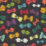Modèle sans couture de noeud papillon Fond de tartan Vecteur Images stock