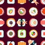 Modèle sans couture de nourriture de vecteur japonais de sushi Photographie stock libre de droits