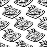 Modèle sans couture de nourriture du Japon Photo stock