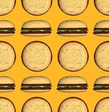 Modèle sans couture de nourriture industrielle avec l'hamburger Image libre de droits