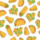Modèle sans couture de nourriture mexicaine Fond de griffonnage avec le burrito, t Photos stock