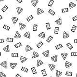 Modèle sans couture de nourriture de pepperoni italiennes de pizza illustration de vecteur