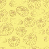 Modèle sans couture de nourriture végétale monochrome Illustration Libre de Droits