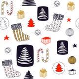 Modèle sans couture de nouvelle année avec le bas de Noël, sucrerie, arbre de Noël, cadeaux d'ANG de boules Conception tirée par  image libre de droits