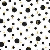 Modèle sans couture de nouvelle année de Noël de point de polka d'or de scintillement avec des flocons de neige Cercle de pinceau Photos stock