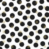 Modèle sans couture de nouvelle année de Noël de point de polka d'or de scintillement avec des flocons de neige Cercle de pinceau Photos libres de droits