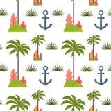 Modèle sans couture de palmier et d'ancre illustration de vecteur