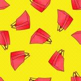 Modèle sans couture de paniers roses rouges colorés vendredi noir, vente saisonnière d'automne d'hiver d'été de ressort escompte Images stock