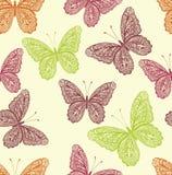 Modèle sans couture de papillon coloré de vintage avec les illustrations tirées par la main de papillon de griffonnage illustration libre de droits