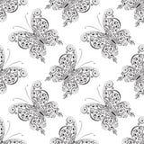 Modèle sans couture de papillon de Scrollwork, illustration de vecteur illustration de vecteur