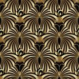 Modèle sans couture de papillons abstraits d'or Image stock
