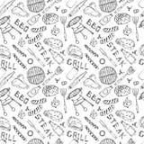 Modèle sans couture de partie de gril de BBQ d'été Canette de bière, bouteille et tasse, bifteck, saucisse, grille de barbecue, p illustration stock