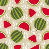 Modèle sans couture de pastèque avec des taches sur le fond beige Illustration de vecteur Image stock