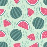 Modèle sans couture de pastèque avec des taches sur le fond vert Illustration de vecteur Images libres de droits