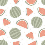 Modèle sans couture de pastèque sur le blanc Illustration de vecteur Photographie stock libre de droits
