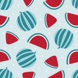 Modèle sans couture de pastèque sur le fond bleu Illustration de vecteur Photographie stock