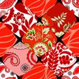 Modèle sans couture de patchwork avec des fleurs Photos stock