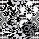 Modèle sans couture de patchwork avec des fleurs - actions illustration de vecteur